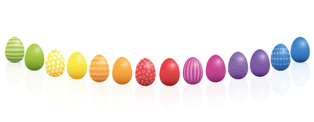 Easter eggs, curved line, different colors and patterns. Rainbow colored three-dimensional isolated vector illustration on white background. Illustration