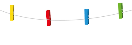 Four colored clothes pins on a clothes line rope holding nothing. Vector illustration. Çizim