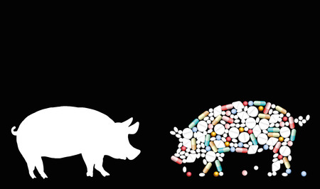 Pills that shape a pig. Symbol for animal healthcare issues, medicine, pharmacy, antibiotics and diet - isolated vector illustration on black background.