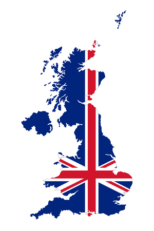 Union Jack in the outline of United Kingdom. Flag in red, blue and white colors. Royal Union Flag with the shape of the country with British Isles. Isolated. Illustration on white background. Vector.