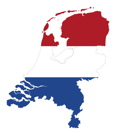 Flag in the outline of the Netherlands. Flag in red, white and blue colors. Horizontal tricolor banner with the shape of the country. Isolated. Illustration on white background. Vector.