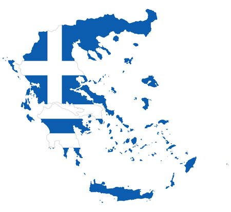 Flag in the outline of the Greece. Flag of the Hellenic Republic in blue and white colors with white cross. Banner with the shape of Hellas. Isolated. Illustration on white background. Vector.