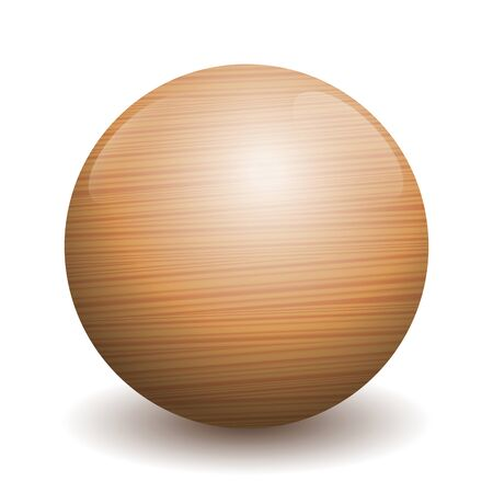 Wooden ball - illustration of a single polished, varnished textured ball with reflections of light and shadow - three-dimensional isolated vector on white background. Illustration