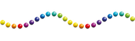 Colored balls. Horizontal wave pattern. Seamless extendable illustration on white background.