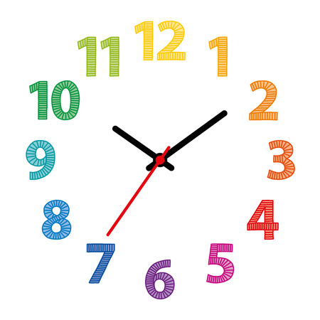 Rainbow colored dial, cock face with colorful hand drawn numerals over white. Part of an analog clock or watch. Displays the time through the use of a dial and moving hands illustration vector. Vectores