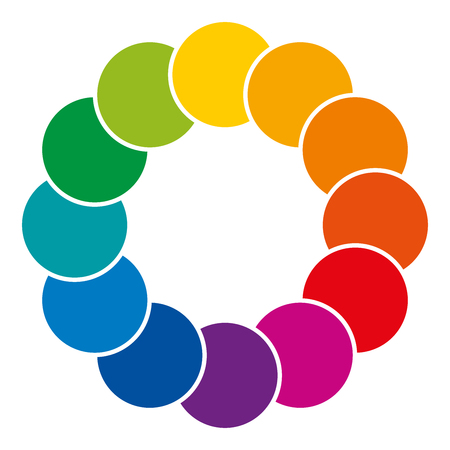 Rainbow colored and overlapping circles. Colorful space and background. Complementary colors, their combinations and mixes showing a clockwise spectrum illustration on white background vector. Illustration