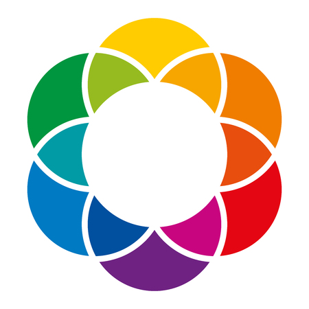 Rainbow colored flower and color wheel. Overlapping circles lead to a colorful space and background. Spectrum of complementary colors, combinations and mixes, illustration on white background vector.