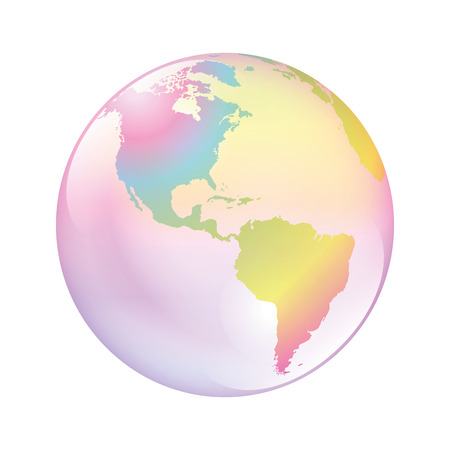 Earth bubble. The world as a fragile planet, symbol for vulnerable nature, climate, environment, mankind and other problematic global issues. Isolated vector illustration on white background.