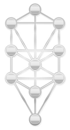 Tree of Life. Silver Kabbalah symbol with ten Sephirots of the Hebrew Kabbalah - isolated on white background. 向量圖像