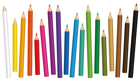 Illustration of colored pencil set loosely arranged in different lengths and isolated on a white background. Illustration
