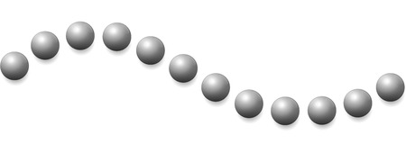 Iron balls wave. Seamless extendable isolated vector illustration on white background.