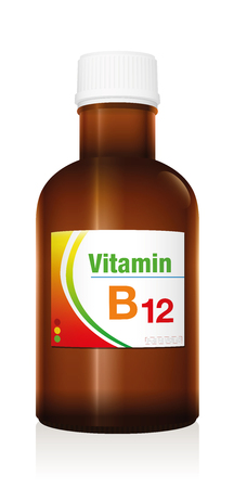 Vitamin B12, as a supplement to healthy diet and conscious nutrition for vegetarians and vegans - medical dummy vial bottle to prevent vitamin deficiency. Stock Illustratie