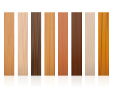 Wooden slats. Collection of wood boards, different colors, glazes, textures from various trees to choose. Illustration