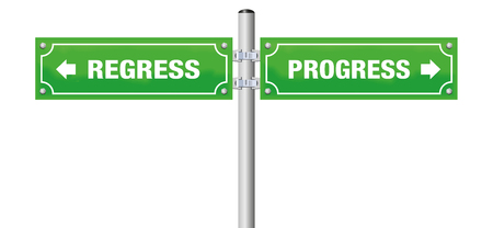 Regress and Progress signposts illustration