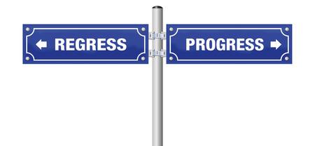 Regress and Progress signposts illustration