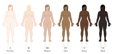 Tipos de piel. Seis mujeres con diferentes colores de piel. Muy justo, justo, medio, oliva, marrón y negro, para determinar el factor de protección solar.