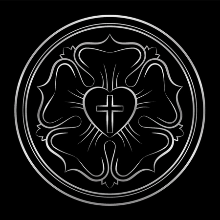 Luther rose symbol of Lutheranism and protestants, consisting of a cross, a heart, a single rose and a ring - isolated silver vector illustration on black background. Stock Illustratie