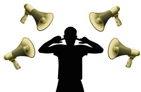 Geluidsoverlast. Symbolisch voor gehoorbeschadiging. Vector Illustratie