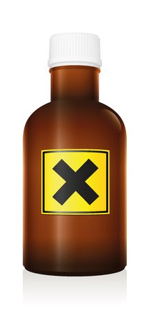 Harmful medicine. Bottle with warning hazard symbol because of irritant ingredients - isolated vector illustration on white background.