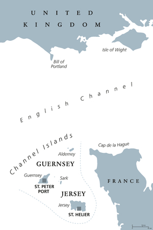 Channel Islands political map. Crown dependencies Bailiwick of Guernsey and Bailiwick of Jersey with capitals. Archipelago off the french coast of Normandy. Gray illustration over white. Vector. Çizim