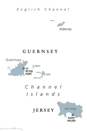 Guernsey and Jersey political map. Channel Islands. Crown dependencies. Archipelago in English Channel off the French coast of Normandy. English labeling. Gray illustration on white background. Vector Illustration