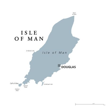 Isle of Man political map with capital Douglas. Also known as Mann, a self governing Crown dependency in the Irish Sea and a tax haven. English labeling. Gray illustration on white background. Vector.