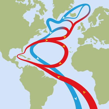 Prąd Zatokowy w Oceanie Atlantyckim. Okrężne przepływy czerwonych ciepłych prądów powierzchniowych i niebieskich chłodnych prądów głębinowych, które powodują zjawiska pogodowe, takie jak huragany i mają wpływ na klimat świata.