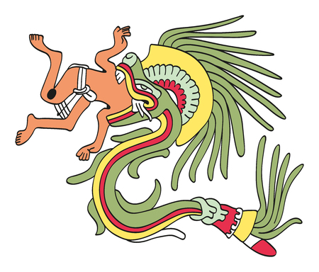 Quetzalcoatl in feathered serpent form, eating a man. God of Wind and Wisdom. Deity as depicted in an Aztec manuscript painting from the sixteenth century. Illustration on white background. Vector.