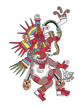 Quetzalcoatl, de gevederde slang. God van wind en wijsheid. Tweelingbroer van Tezcatlipoca. Godheid zoals afgebeeld in het antieke Azteekse manuscript dat Codex Borbonicus schildert. Illustratie over wit. Vector.