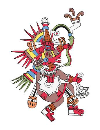 Quetzalcoatl, le serpent à plumes. Dieu du vent et de la sagesse. Frère jumeau de Tezcatlipoca. Divinité telle que représentée dans l'antique peinture manuscrite aztèque Codex Borbonicus. Illustration sur blanc. Vecteur.