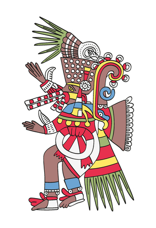 Tezcatlipoca, the Smoking Mirror. God of Magic and Darkness. Twin brother of Quetzalcoatl. Deity as depicted in the antique Aztec manuscript painting, Codex Borbonicus. Illustration over white. Vector
