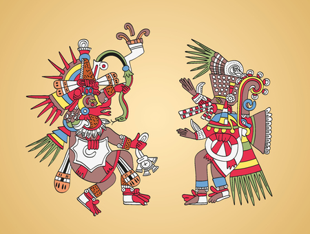 Quetzalcoatl, feathered serpent, god of Wind and Wisdom, left. Tezcatlipoca, Smoking Mirror, god of Magic and Darkness, right. Twin brothers. Aztec gods as depicted in old manuscript painting. Vector. Illustration