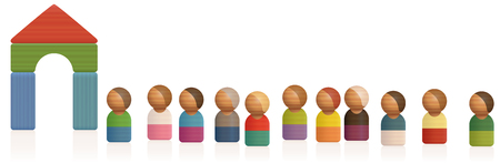 Wooden toy figures waiting in a row Illustration