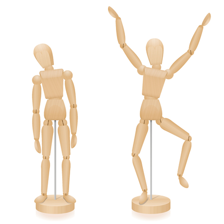 Two mannequins with typical body posture Illustration