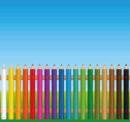 Colorful fence constructed from colored crayons - vector illustration on blue sky background. 일러스트
