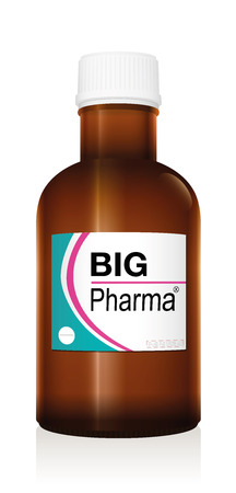 Medicine bottle named BIG PHARMA, a medical fake product, symbol for financial pharma business, health problems, profit and negative image of medicine issues - isolated vector on white.
