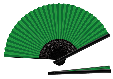 Hand fan, green an black, open and closed, three-dimensional, realistic - isolated vector illustration on white background.