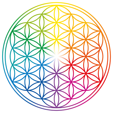 Flower of Life in rainbow colors. Geometrical figure, spiritual symbol, Sacred Geometry. Overlapping circles forming a flower like pattern with symmetrical structure.