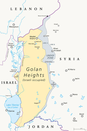 Golan Heights. political map with borders, important places, rivers and Lake Tiberias.