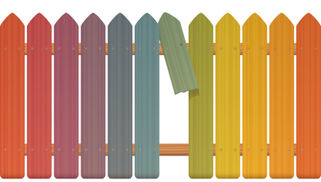 Gap in the fence - colored picket fence with broken plank and loophole to slip through, escape, flee, take off, break free, slip away, sidle off - isolated vector illustration on white background. Illustration