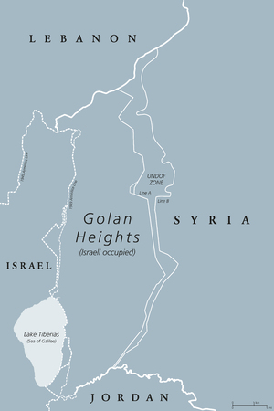 Golan Heights. political map with borders. A region in the Levant. Area, captured from Syria and occupied by Israel. English labeling. Gray illustration on white background. Vector.