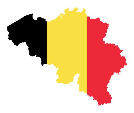Vlag van het koninkrijk België in silhouet van het land. Landmassa als omtrek, binnen de vlag van de natie. Verticale driekleur. Zwarte, gele en rode strepen. Geïsoleerde illustratie over wit. Vector.