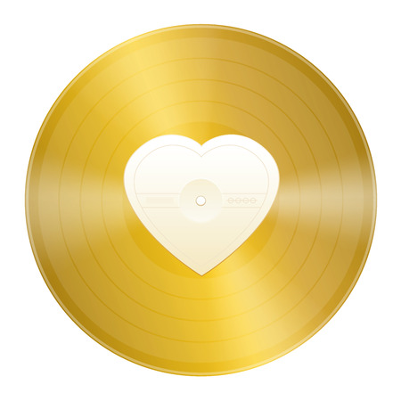Gold record with blank heart shaped center to be labeled. Symbol for golden hits, gold beaters, old love songs or any musical message of love.