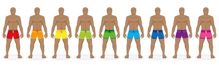 Swim trunks. Rainbow colored collection of beachwear for nine men - red, orange, yellow, green, blue, purple, pink. Isolated vector illustration on white background. Ilustração