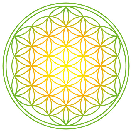 Flower of Life with spring energy colors. Geometrical figure, spiritual symbol and Sacred Geometry. Overlapping circles forming a flower like pattern with symmetrical structure. Illustration. Vector. Illustration
