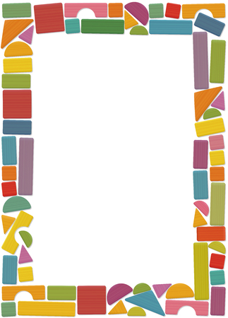 Building toy blocks, vertical frame - colored set, loosely arranged with bricks, roofs, spires, pillars and archs - all parts with wooden texture. Isolated vector illustration on white background.