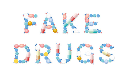 FAKE DRUGS written with pills, tablets and capsules. Isolated vector illustration on white background.