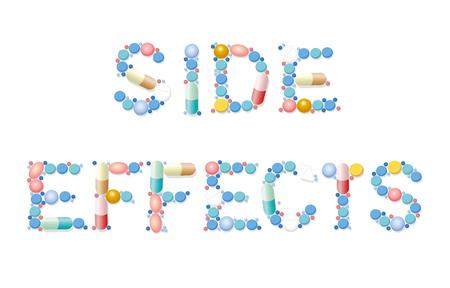 Efectos secundarios escritos con píldoras, tabletas y cápsulas. Ilustración de vector aislado sobre fondo blanco.