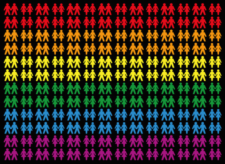 Gay Pride Colored Background With Gay And Lesbian Love Couples