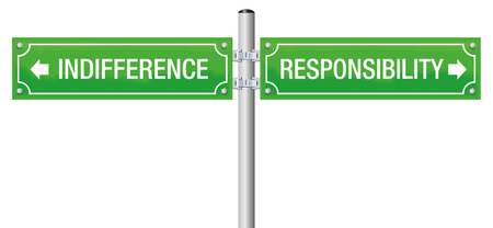 Responsibility or indifference or. Street sign to decide for moral, duty, integrity, trust, obligation, ethics and social accountability or for ignorance and doubt. Ilustrace